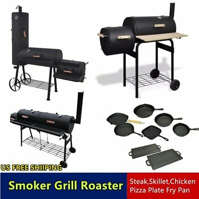 Outdoor BBQ Grill Charcoal Barbecue Patio Backyard Meat Cooker Smoker Plate Tool