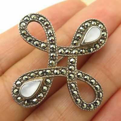 925 Sterling Silver Mother-Of-Pearl & Marcasite Quaternary Celtic Knot Brooch