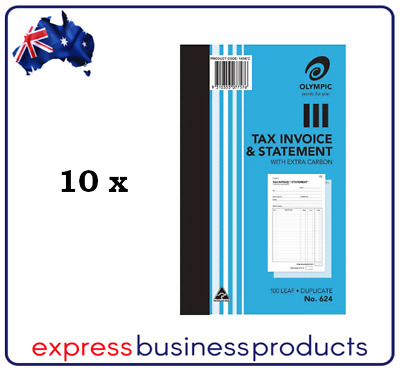 10 Pack Olympic #624 Duplicate Tax Invoice & Statement Book - AO140872