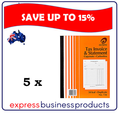 5 Pack Olympic #726 Duplicate Tax Invoice & Statement Book - AO140874