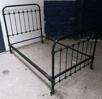 ~Antique ~Victorian ~Black Iron Bed Frame ~Brass Detailing ~Single Bed Frame~