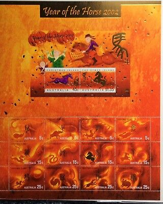 2002 Year of The Horse Lunar New Year Zodiac Stamp Sheet