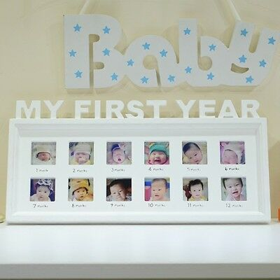 Baby My First Year Photo Frames 12 Months Collage Shower Newborn Gift Keepsake