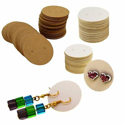 Brown / White Kraft Paper Round Earring Cards for Jewelry Display Packaging x100