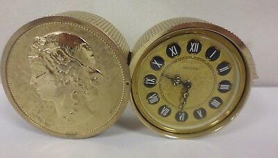 Vintage Estyma Travel Clock - In The Shape Of A Gold Coin - Working Condition-Tr
