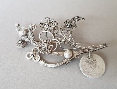 ANTIQUE jewelry Ottoman brooch hand knitted SILVER filigree + silver coin XIXc