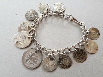 ANTIQUE jewelry Ottoman SILVER bracelet with hand knitted chain and silver coins