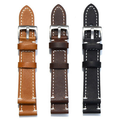 Genuine Leather Wristwatch Band Mechanical Replacement Watch Strap 18~24mm New