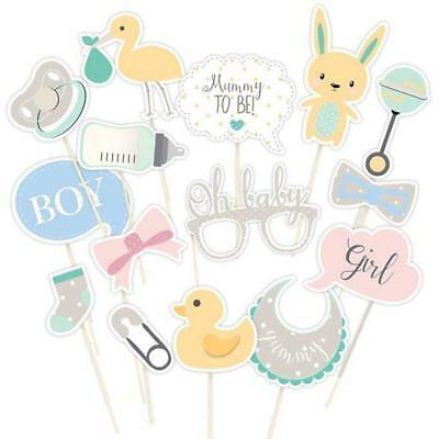UK 15pcs Oh Baby Photo Booth Props Birthday Baby Shower Party Decoration Unisex