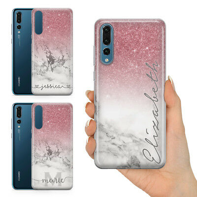 Personalised Champagne Rose Gold Glitter Effect Plastic Phone Case For Huawei
