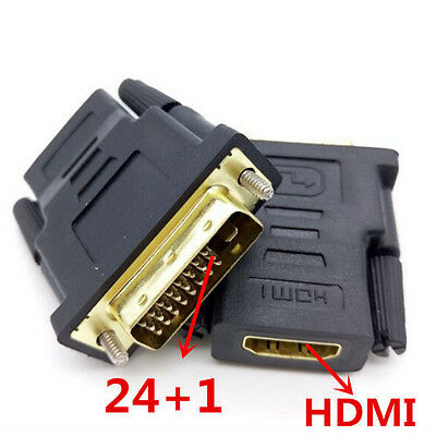 DVI D 24+1 25 Pin Male to HDMI Female Adapter Gold Plate Converter For HDTV TV L