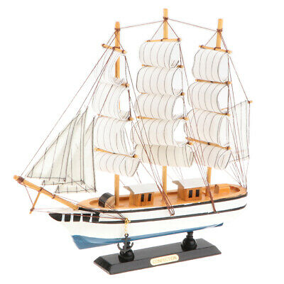 Wooden Sail Boat Sailing Ship Model Toy Handcrafted Nautical Home Decor Ornament