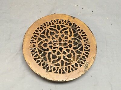 "Antique 9"" Cast Iron Round Floor Heat Grate Register Victorian Vtg 456-18E"