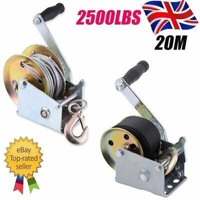 600lbs 1200lbs Manual Hand Winch Cable Marine Pull Belt Strap Hook 6M 8M 12M