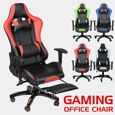 Executive Gaming Computer Office Chair Recliner Adjustable Swivel Leather Sport