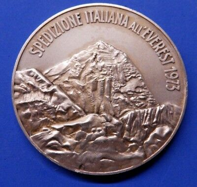 Italian Everest Expedition 1973 Large Hallmarked Silver Medal - Rare