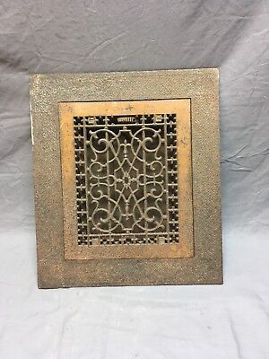 Antique Cast Iron Heat Grate Floor Vent Register with Surround 16x14 Old 458-18E