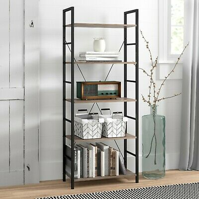 Industrial Style 5-Tier Wooden Storage/Book Shelf-Vintage Colour-BR125