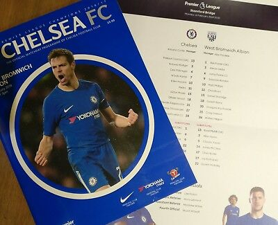 New Chelsea FC v West Bromwich Albion 12/02/2018 official programme + Teamsheet