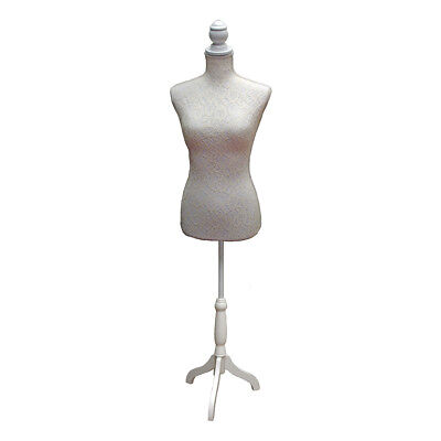 Dressmakers Mannequin with Cream and White Lace Design | White Wood Stand