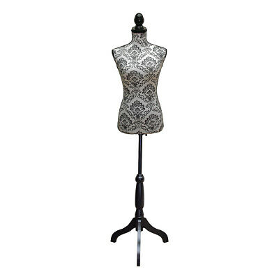 Dressmakers Mannequin with White and Black Lace Damask Design | Black Wood Stand