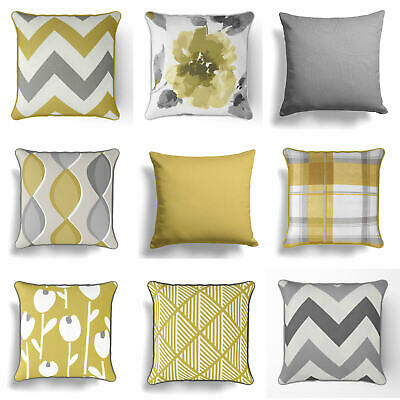 """Ochre Mustard Yellow Grey Cushion Cover Collection 17"""" / 18""""  43cm / 45cm Covers"""