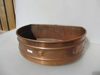 "Vintage Copper Trough Tub Planter Plant Pot Antique Old Urn Rivets 14""W"