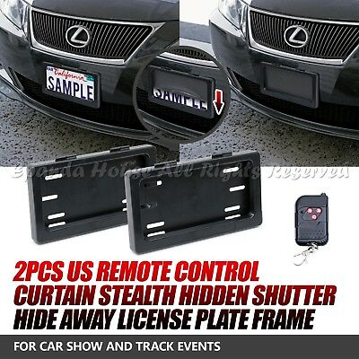Fit Toyota 2Pcs Usa Powered Remote Curtain Stealth Hide Away License Plate