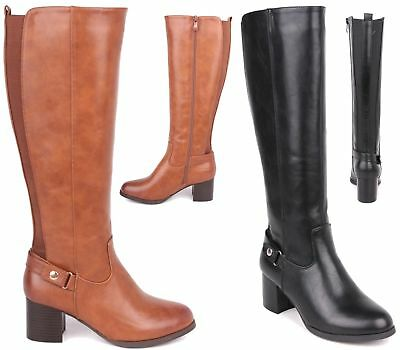 d08273a6c7f8f3 Womens Ladies Block Mid Heel Wide Calf Zip Stretch Biker Knee Boots Size