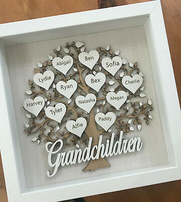 Personalised Family Tree Frame Grandchildren Mothers Day Birthday Gift Keepsake