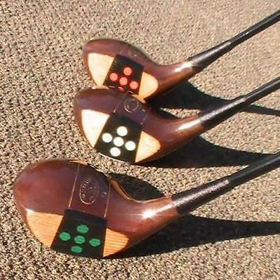 Antique Vintage Fancy Face Macgregor 54 Green Marbleized Back Weight  Wood Set