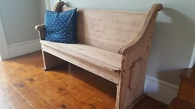 Antique Wooden Church Pew/Bench - Smaller- Rare-Entrance, Foot Of Bed, Collect