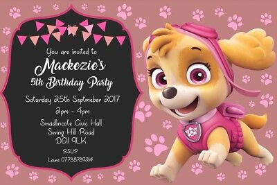 Personalised Skye Paw Patrol Birthday Party Invites Inc Envelopes CB91