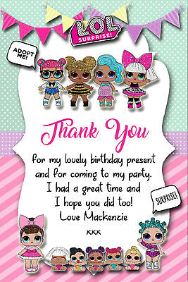Personalised LOL Surprise Dolls Birthday Party Thank You Cards Envelopes LOL1