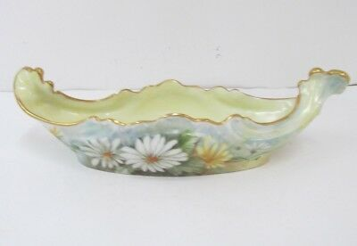 "ANTIQUE  JEAN POUYAT LIMOGES  DAISIES ARTIST SIGNED 10 1/4""  ACROSS  Bowl BOAT"