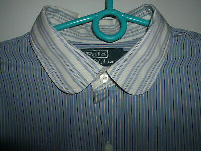 Polo Ralph Lauren perfect c. fitted mens shirt Size Large Chest 44 46 blue white