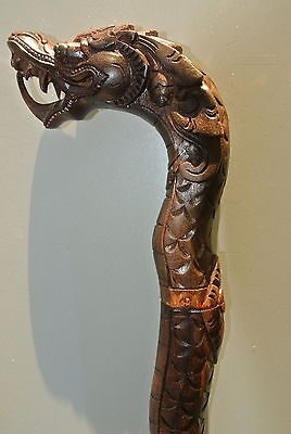 Complete WALKING STICK dragon scales solid wood vintage style hand carved B