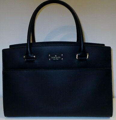 Kate Spade Grove Street Caley Black Leather Handbag With Top Curved Design