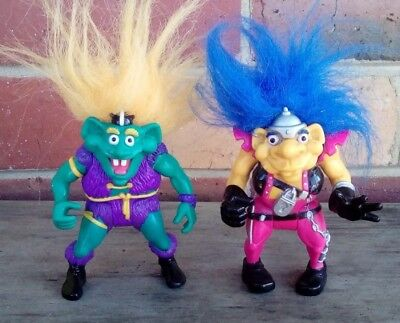 2x Troll Warriors ACTION FIGURES - TYCO 1992, Orange, Blue