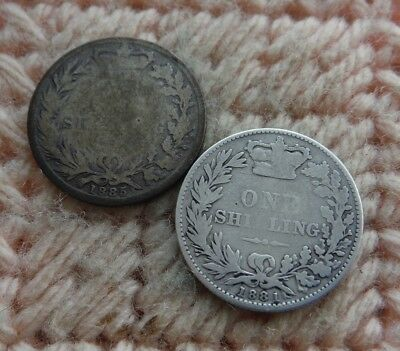 UK Great Britain Victoria Silver Shilling 1881, 1885 Lot of 2