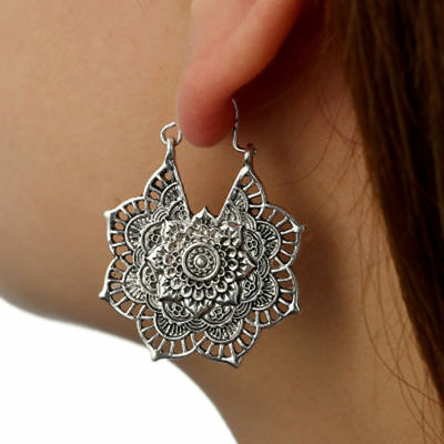 Antique silver Gypsy Indian Tribal Ethnic Hoop Dangle Mandala Earrings Boho