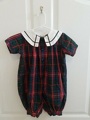 Vintage Baby Toddler Girl Green Red Plaid Romper Collar Size 24 Months Christmas