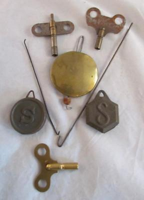 Vtg Antique Clock 3 Pendulum Weights & 3 Keys With Square Openings Great Cond !!