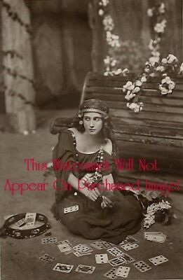 Old VINTAGE Antique BEAUTIFUL GYPSY Tarot Card Reader Photo Photograph REPRINT