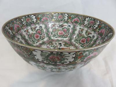 """A+ Lovely Vintage Chinese FAMILLE ROSE Huge 14"""" BOWL Birds Butterflies Flowers"""