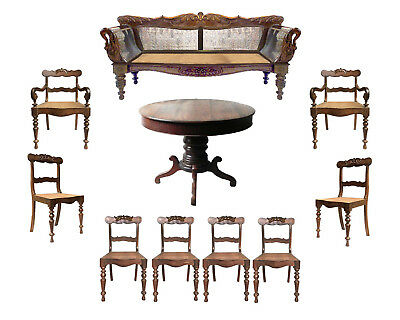 Magnificent 19th C.Brazilian Baronial Parlor Set Settee chairs table & armchairs