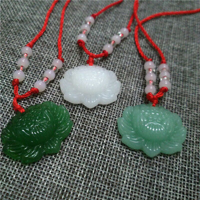 Natural Green Jade Lotus Pendant Necklace Fashion Lucky Charm New