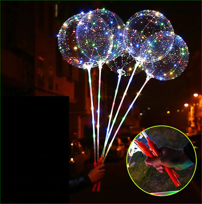 LeaLek 18 inch 5pcs 3M LED Colorful Light Transparent BoBo Balloon for Birthday