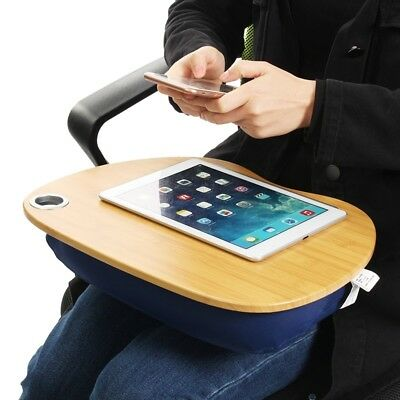 Wooden Portable Handy Lap Tray Tablet Laptop Table Cushion Outdoor Learning Desk