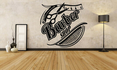 Wall Vinyl Sticker Barber Shop Logo Sign Hair Salon Beauty Spa Cuttery Set GF615